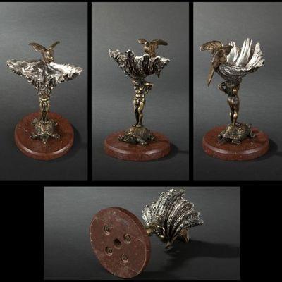 Expertissim - Vide-poche-Expertissim-Vide-poches en bronze patiné et argenté de la fin