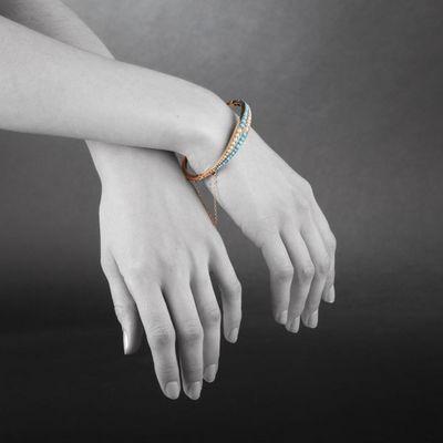 Expertissim - Bracelet-Expertissim-Bracelet jonc rigide ouvrant en or, turquoises et