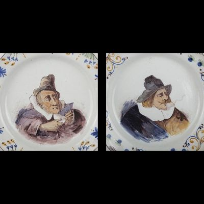 Expertissim - Plat de présentation-Expertissim-Paire de plats ronds à bord contourné en faïence