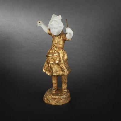 Expertissim - Chrys�l�phantine-Expertissim-BAILLY G.O. Petite fille au tambour, chrys�l�phant