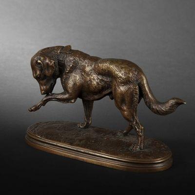 Expertissim - Sculpture animalière-Expertissim-Chien en bronze par Victor Chemin