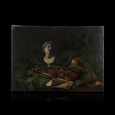 Expertissim - Huile sur toile et huile sur panneau-Expertissim-Marius Antoine BARRET. Allégorie de la musique