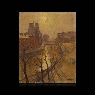 Expertissim - Huile sur toile et huile sur panneau-Expertissim-Clément SERVEAU. Les quais de la Seine, 1947