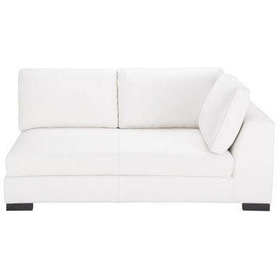 Maisons du monde - Canapé d'angle-Maisons du monde-Canapé manchot cuir droit convertible blanc Terenc
