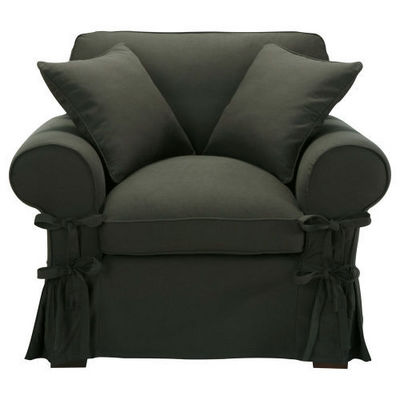 Maisons du monde - Fauteuil-Maisons du monde-Fauteuil coton anthracite Butterfly