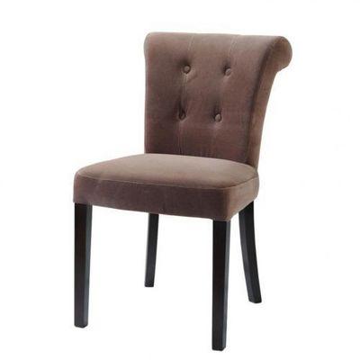 Maisons du monde - Chaise-Maisons du monde-Chaise velours taupe Boudoir