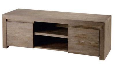 ZAGO - Meuble tv hi fi-ZAGO-Meuble télé 2 portes 2 niches en teck teinté gris