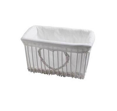 BARCLER - Panier de rangement-BARCLER-Corbeille coeur en osier blanc et coton 34x18x26cm