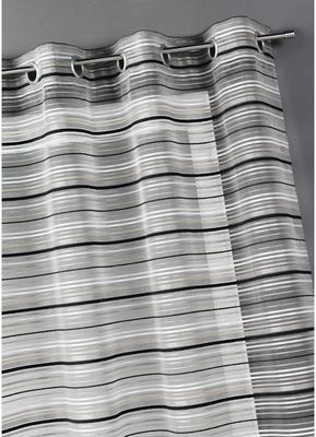 HOMEMAISON.COM - Voilage-HOMEMAISON.COM-Voilage organza tissé rayures chenilles horizontal