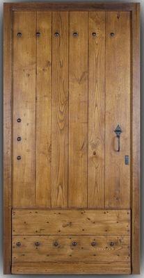 Portes Anciennes - Porte d'entrée pleine-Portes Anciennes-Porte de mas en chataignier