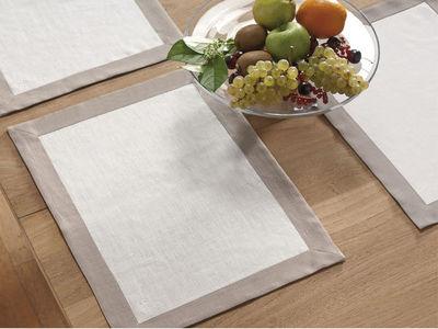 BLANC CERISE - Set de table-BLANC CERISE-Lot de 2 sets de table - lin déperlant - bicolore,