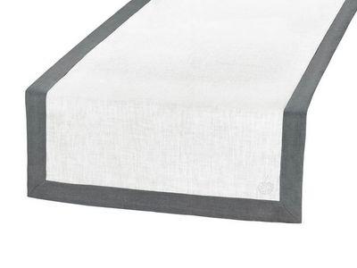 BLANC CERISE - Chemin de table-BLANC CERISE-Vis-à-vis blanc et gris - lin déperlant - bicolore