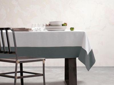 BLANC CERISE - Nappe et serviettes assorties-BLANC CERISE-Nappe - blanc et gris - lin déperlant - unie, brod