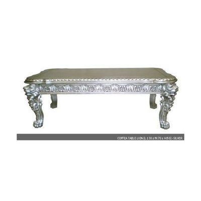 DECO PRIVE - Table basse rectangulaire-DECO PRIVE-Table basse baroque en bois argente Modele Lion