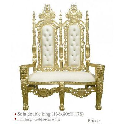 DECO PRIVE - Fauteuil-DECO PRIVE-Banquette de mariage en bois dore et simili blanc