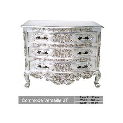 DECO PRIVE - Commode-DECO PRIVE-Commode en bois argente 3 tiroirs Versailles