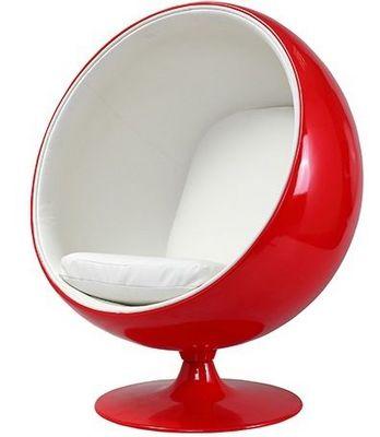 Eero Aarnio - Fauteuil et pouf-Eero Aarnio-Fauteuil Ballon Aarnio coque rouge interieur blanc