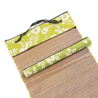 WHITE LABEL - Drap de plage-WHITE LABEL-Natte 2 faces paille naturelle tissu imprimé hibis