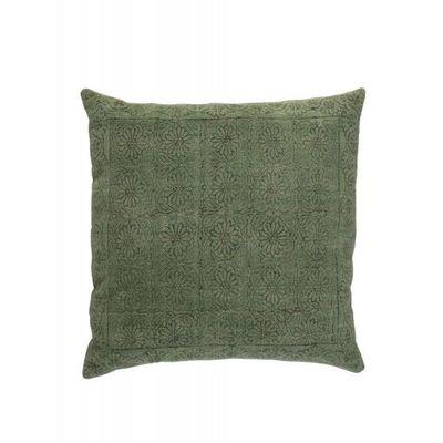 BLANC D'IVOIRE - Coussin carr�-BLANC D'IVOIRE-NOE vert