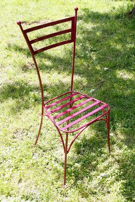 BARCLER - Chaise de jardin-BARCLER-Chaise de jardin laura en fer forgé prune 39x34,5x