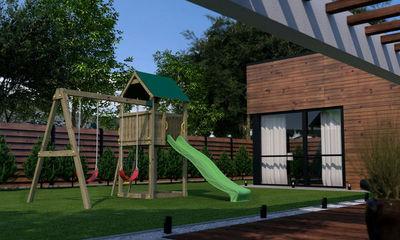 Chalet & Jardin - Portique-Chalet & Jardin-Plateforme de jeux Pollux avec maisonnette