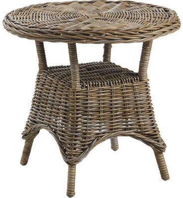 Aubry-Gaspard - Table d'appoint-Aubry-Gaspard-Table d'appoint ronde en Poelet gris