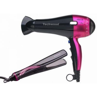 TECHWOOD - Sèche-cheveux-TECHWOOD-Coffret sèche-cheveux + lisseur noir et rose