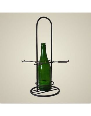 L'HERITIER DU TEMPS - Porte-bouteilles-L'HERITIER DU TEMPS-Porte 1 bouteille et 4 verres en fer