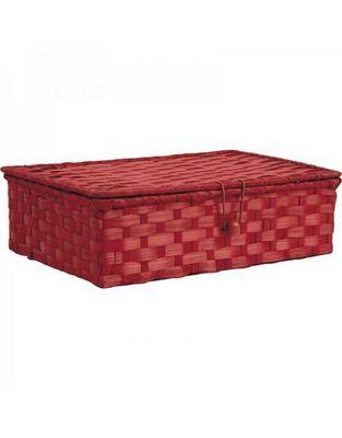 Aubry-Gaspard - Boite de rangement-Aubry-Gaspard-Coffret en bambou teinté rouge