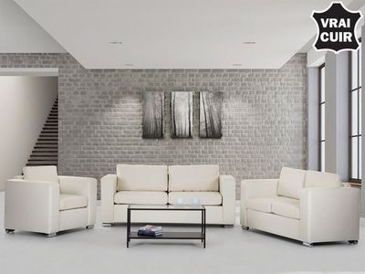 BELIANI - Salon-BELIANI-Sofa en cuir