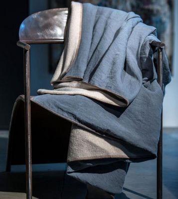 Couleur Chanvre - Plaid-Couleur Chanvre-Thé Bleu laine beige