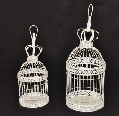 Demeure et Jardin - Cage à oiseaux-Demeure et Jardin-Set de 2 Cages « Déco » Patine Blanc Antique