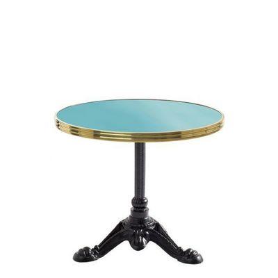 Ardamez - Table basse ronde-Ardamez-Table basse bistrot émaillée bleu / laiton / fonte