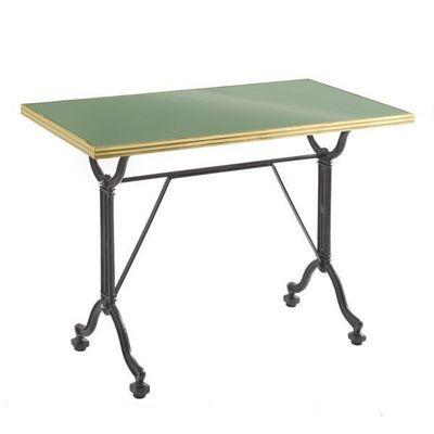Ardamez - Table de repas rectangulaire-Ardamez-Table de repas émaillée vert réséda / inox / fonte