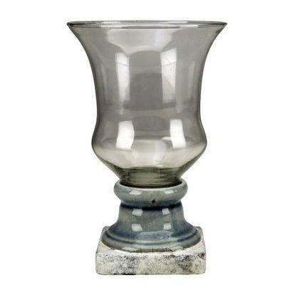 Interior's - Vase à fleurs-Interior's-Vase à pied gris bleuté