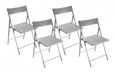 WHITE LABEL - Chaise pliante-WHITE LABEL-BELFORT Lot de 4 chaises pliantes argent