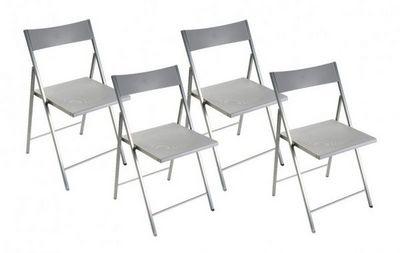 WHITE LABEL - Chaise pliante-WHITE LABEL-BELFORT Lot de 4 chaises pliantes argent