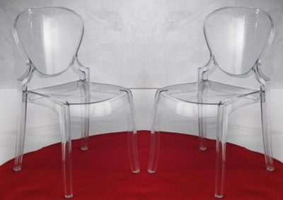 WHITE LABEL - Chaise-WHITE LABEL-Lot de 2 chaises design LIGHT en plexiglas transpa