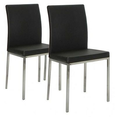 WHITE LABEL - Chaise-WHITE LABEL-Lot de 2 chaises design FLUX en simili cuir noir e