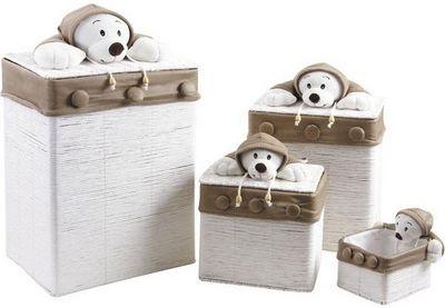Aubry-Gaspard - Coffre à jouets-Aubry-Gaspard-Coffre à jouet ours blanc
