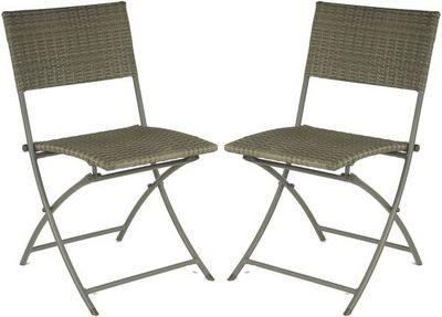 PROLOISIRS - Chaise de jardin-PROLOISIRS-Chaise pliante R�sine tress�e (Lot de 2)
