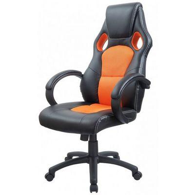 WHITE LABEL - Fauteuil de bureau-WHITE LABEL-Fauteuil de bureau sport cuir orange