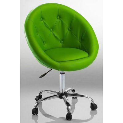 WHITE LABEL - Fauteuil rotatif-WHITE LABEL-Fauteuil lounge pivotant cuir vert