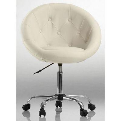 WHITE LABEL - Fauteuil rotatif-WHITE LABEL-Fauteuil lounge pivotant cuir cr�me