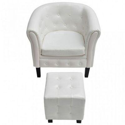 WHITE LABEL - Fauteuil et pouf-WHITE LABEL-Fauteuil avec pouf simili-cuir blanc