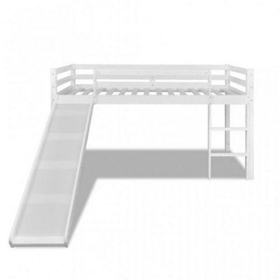 WHITE LABEL - Lit enfant-WHITE LABEL-Lit mezzanine blanc avec toboggan et échelle