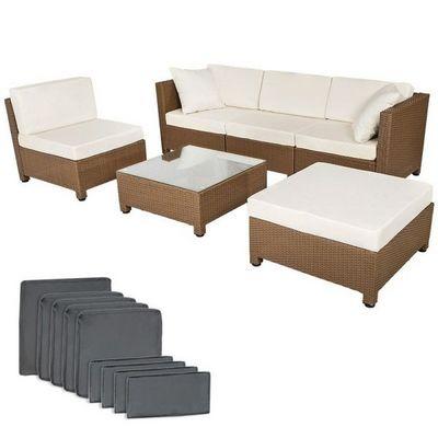 WHITE LABEL - Salon de jardin-WHITE LABEL-Salon de jardin rotin synthétique marron