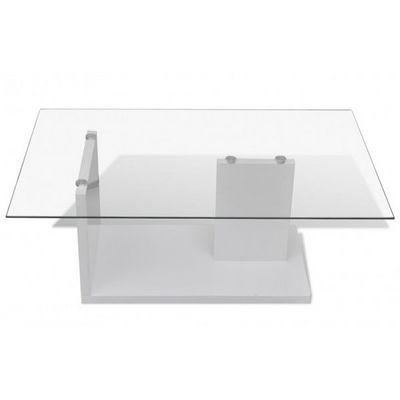 WHITE LABEL - Table basse rectangulaire-WHITE LABEL-Table basse design blanche verre