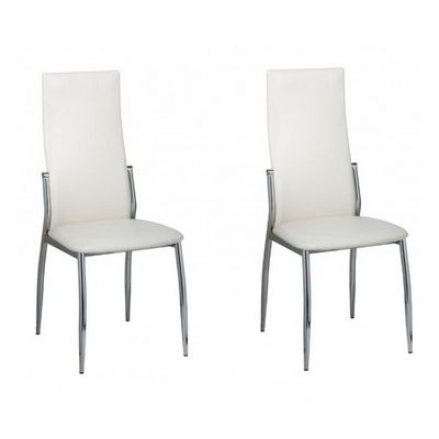 WHITE LABEL - Chaise-WHITE LABEL-2 Chaises de salle a manger blanches