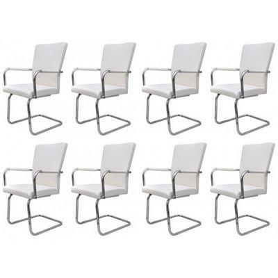 WHITE LABEL - Chaise-WHITE LABEL-8 chaises de salle à manger blanches